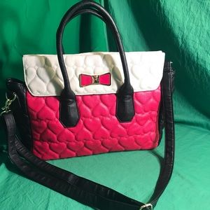 Betsy Johnson Pink and White Purse